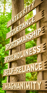 The ideals posted on the entrance arch are the principles that guide us in everything we do at Camp Takajo.